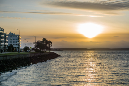 A view of the sun setting from West Seattle, Washington.