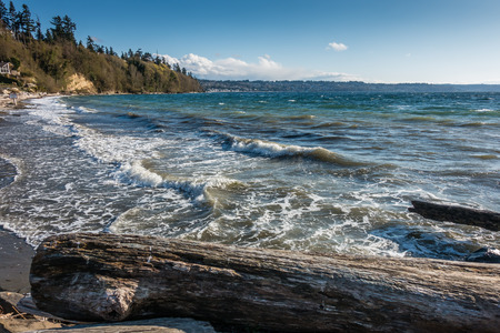 Waves roll onto the shore at Salewater State Park in Washington State.