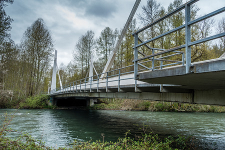 A view of the bridge over the Green River at Flaming Geyser State Park in Washington State.