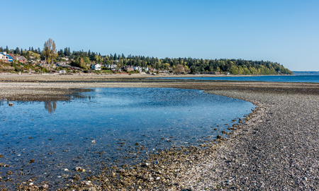 A view of a tide pool and the shoreline at Normandy Park, Washington. Stock Photo
