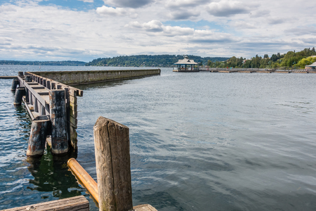 A view of a pier at the boat launch at Geen Coulon Park in Renton, Washington.