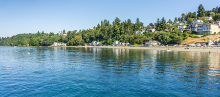 A view of waterfront homes in Dash Point, Washington.