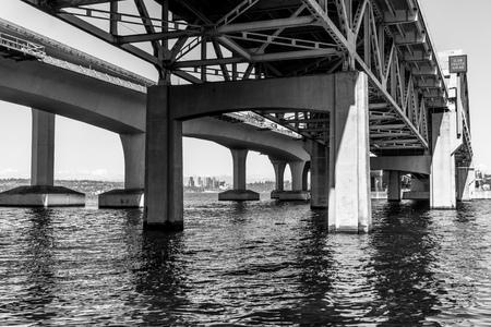 A view of the highway I-90 bridge with Lake Washington below.