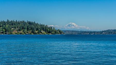 A view of Mount Rainier acroos Lake Washington in Seattle.