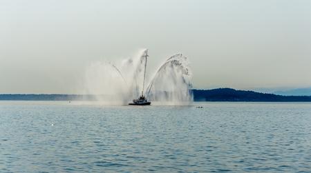 A fireboat shoots water near Seattle.