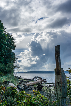 Dramatic clouds hover over the Puget Sound in washington State.