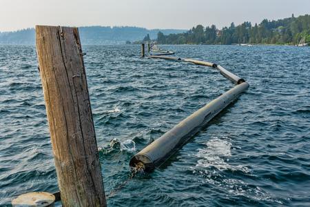 A view of pontoons that create a divide on Lake Washington near Renton, Washington.