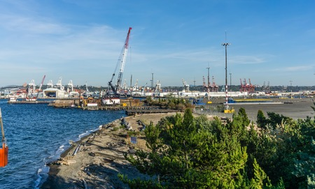 A view of cranes at the Port of Seattle. Editorial