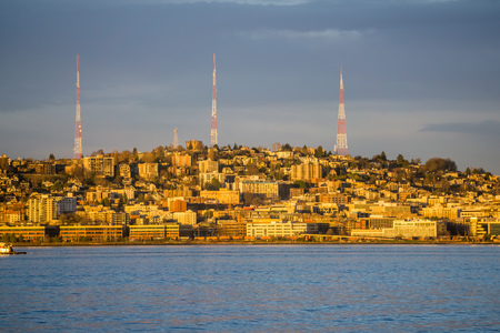 A view of three broadcasting towers on Queen Anne hill in Seattle. 写真素材