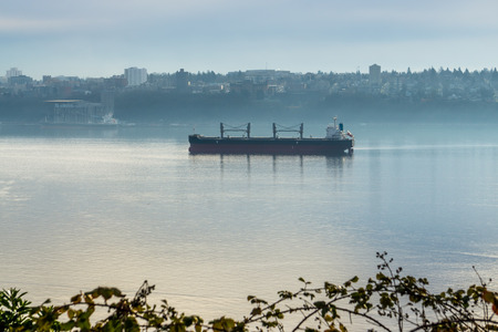 A large vessel enters the Port of Tacoma.