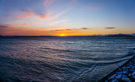 A view of an ethereal sunset sky from West Seattle, Washington. Stock fotó - 117307389