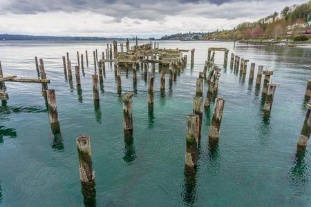 A view of decaying pilings near shore in Ruston, Washington.