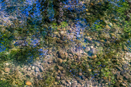 A close-up shot of a clear creek with colorfull reflections.