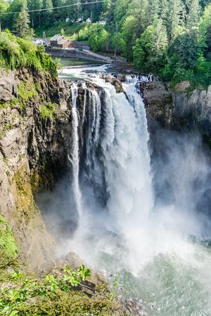 A view of majestic Snoqualmie Falls in Washington State.
