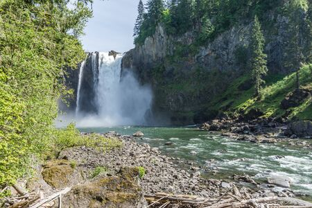 A view of Snoqualmie Falls in Washington State  from down river.