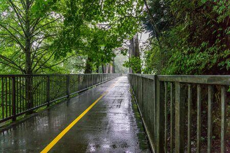 A view of a walking bridge on a rainy day in Renton, Washington.