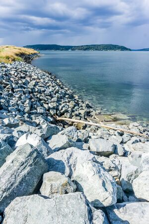 A view of the shoreline at Dune Peninsula Park and the Puget Sound. Stock fotó