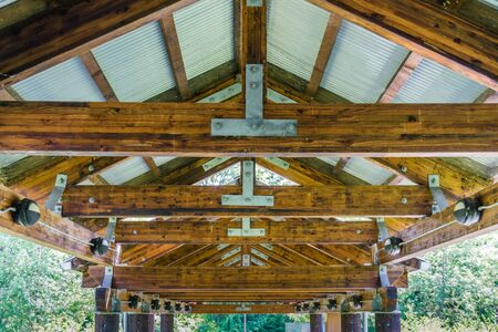 A close-up shot of wooden roof rafters. Stock fotó