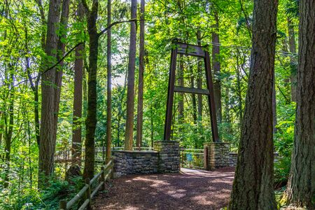 The entrance to a suspension brdige in Bellevue, Washington.