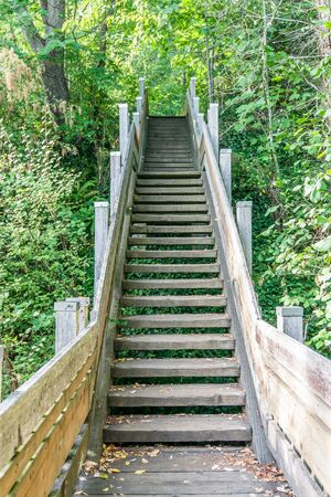 Steep stairs lead to the water at Marine View Park in Normandy Park, Washington. Banco de Imagens