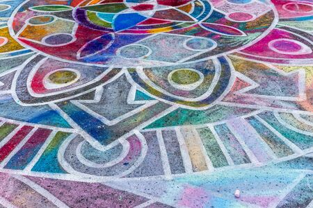 REDMOND WA., USA  -AUGUST 16,  2019: The firsft day of Chalkfest event. A close-up view of the childrens area.