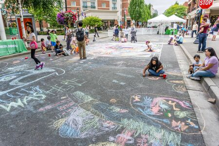 REDMOND WA., USA  -AUGUST 16,  2019: The firsft day of Chalkfest event. A view of the childrens area.