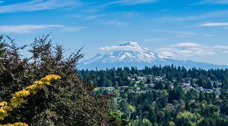 Home sit below Mount Rainier in Washington State.
