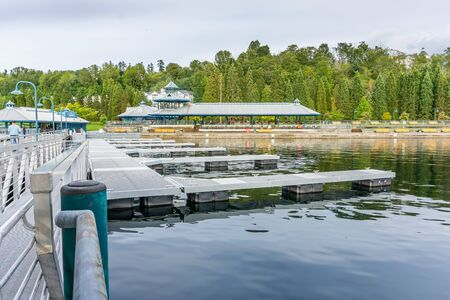 A view of the dock at Gene Coulon Park in Renton, Washington.