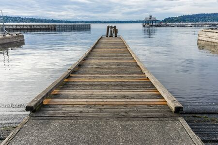 A view of a wooden pier at Gene Coulon Park in Renton, Washington.