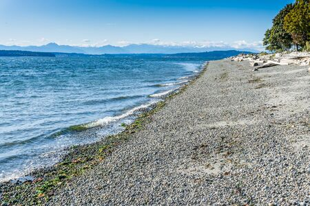 A view of the shoreline at Lincoln Park in West Seattle, Washington.