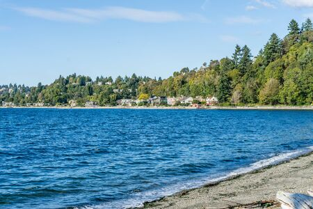 Homes line the shore in West Seattle, Washington.