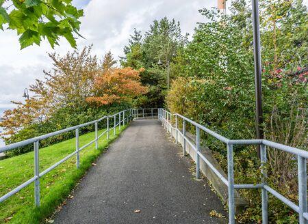 A walkway at Jack Block Park in West Seattle, Washington. Stock fotó