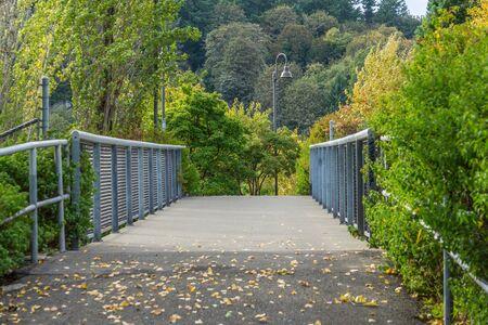 A walkway at Jack Block Park in West Seattle, Washington. 写真素材