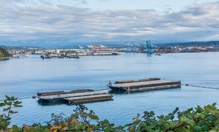 Barges at the Port of Tacoma. 写真素材