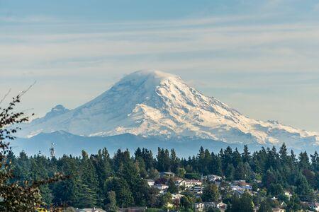 Snow covers stunning Mount Rainier in Washington State.