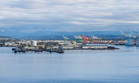 The wharf at the Port of Tacoma with mnay cranes for shipping. 写真素材