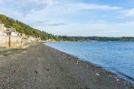 A veiw of the shoreline at Three Tree Point in Burien, Washington.