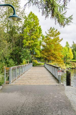 A walking bridge at Gene Coulon Park in Renton, Washington.