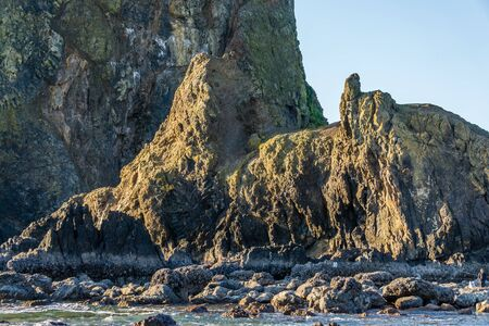 A view of a section of  the famous Haystack Rock Monolith in Cannon Beach, Oregon.