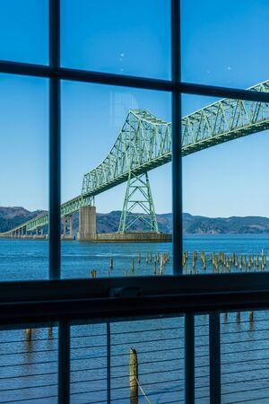 A view of the Astoria-Megler bridge through a window.