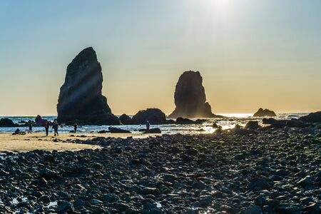 A view of the famous Haystack Rock Monolith in Cannon Beach, Oregon.