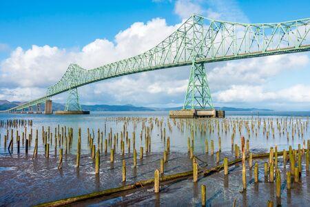 A view of the Astoria-Megler bridge in Astoria, Oregon.