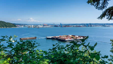A view of the Port of Tacoma n Washington State. Stockfoto