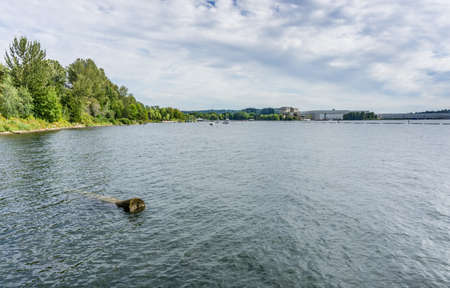 A view of the shoreline at Gene Coulon Park in Renton, Washington.