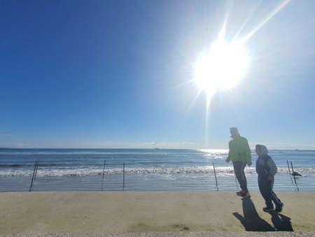 Walking by the beach Stok Fotoğraf