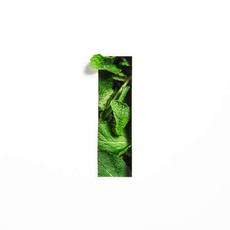 Letter I of English alphabet of green mint natural leafs and cut paper isolated on white. Leaves font for decoration