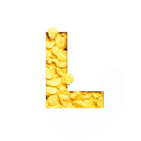 Letter L of alphabet made of bio cereals corn flakes and paper cut isolated on white. Typeface for healthy food store
