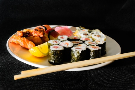 Home made sushi set of delicious sushi waiting to be consumed  Stock Photo