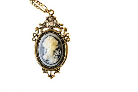 Old beautiful necklace in the stile of the camay on the white background  Stock Photo