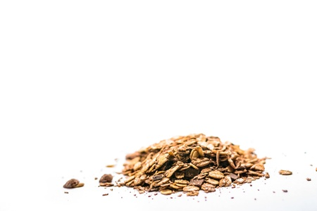 musli: Pile of musli on the white background  Stock Photo